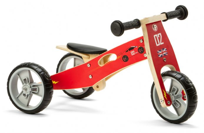 Nicko Mini 2 in 1 Green Wooden Balance Running Bike Trike